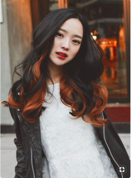 Asian with copper highlights