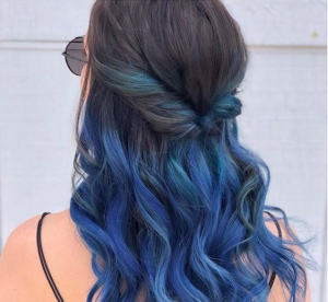 blue hair half up twist